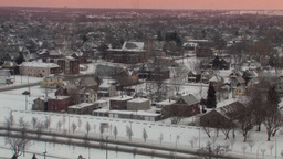 Snow-Covered Winter City Landscape (High Resolution) stock footage