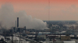 Factory Emissions In An Industrial Landscape stock footage