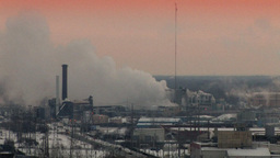 Factory Emissions In An Industrial Landscape (High Resolution) ビデオ
