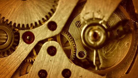 The Mechanism Of Old Watches. Close-up. Middle Focus stock footage