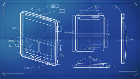 Tablet PC Blueprint stock footage