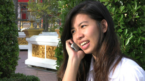 Thai Girl Answering Cell Phone Footage