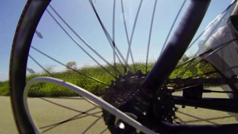 Detail View On A Bycicle Gear System stock footage