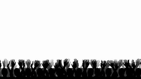 Cheering Crowd Silhouettes stock footage