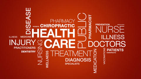 Health Care Word Cloud Animation stock footage