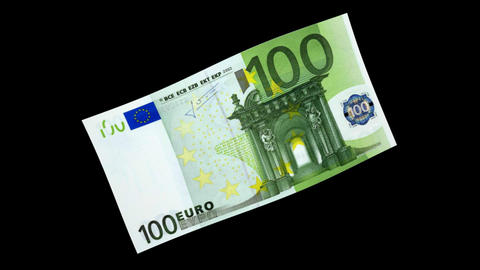 100 EUR Bill - 3D Diagonal Spinning Loop stock footage
