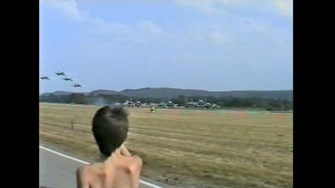 Ramstein Airshow Disaster Lift Off 10897 stock footage