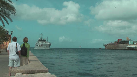 Support Vessel Of The Royal Netherlands Navy Arriving At Willemstad Harbor stock footage