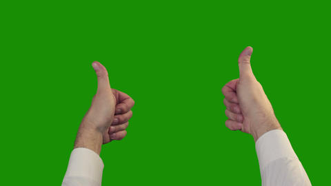 Thumbs Up On The Green Chroma Key stock footage