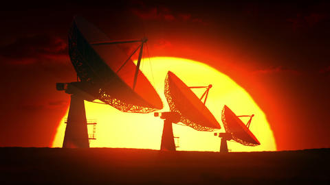 Satellite Dishes At Sunrise stock footage
