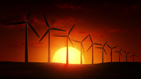Wind Turbines at sunrise CG動画素材
