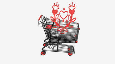 Shopping Cart and Flower.retail,buy,cart,shop,basket,sale,supermarket,market Animation
