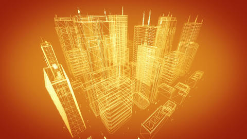 Architectural Blueprint Of Contemporary Buildings, Gold Tint stock footage