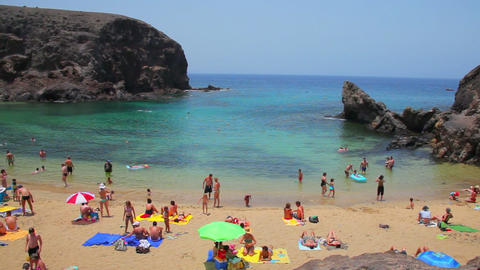 Papagayo beach on Lanzarote Island, Spain Footage