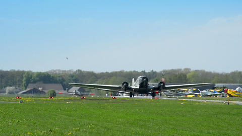 historic airplane Junkers JU 52 roll on taxiway 10909 Footage