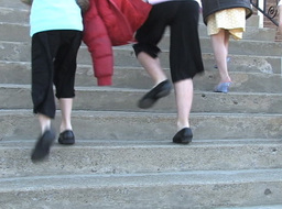Children Walking On Stairs stock footage
