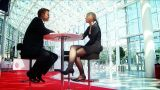 Business Couple Doing Business At Their European Conference stock footage