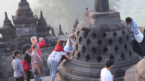 Picture With Buddha In Borobudur Temple stock footage