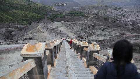 Steps To Bromo Volcanos Crater stock footage