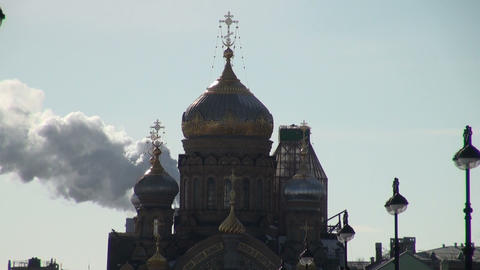 The smoke and the dome of the temple Footage