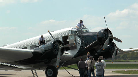 pilot cleans airshield of military plane ju52 Footage