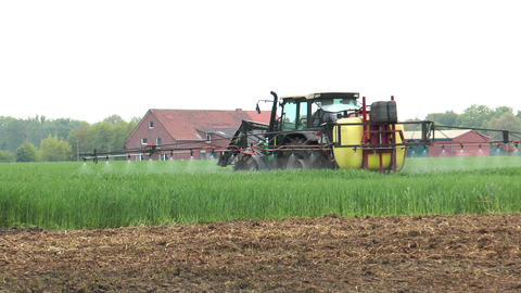 Farmer Spraying Pesticides stock footage