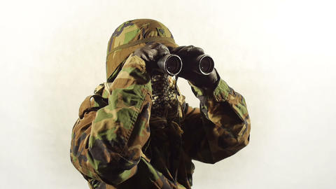 Masked soldier with binoculars Footage