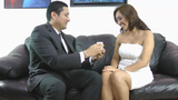 Wedding proposal; Happy young man giving a ring to a beautiful surprised young woman Footage
