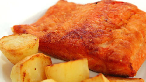 Fish Salmon Fried stock footage