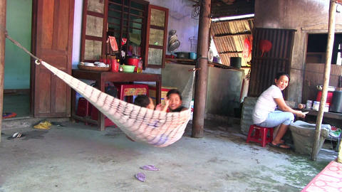Resting For Vietnam Family stock footage