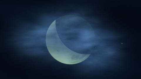 Moon And Clouds stock footage