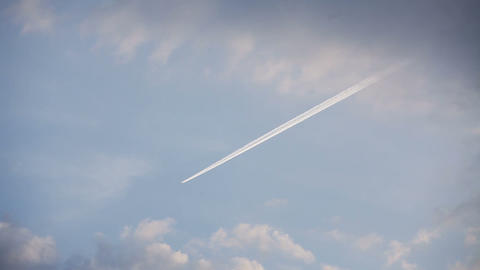 Airplane Track With Motion In The Blue Sky stock footage
