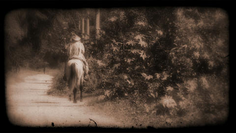Vintage Film Of A Person Riding A Horse stock footage