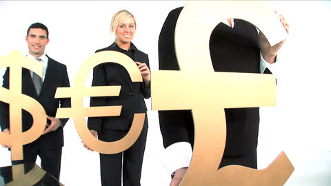 Business Team Standing In A Row And Holding Gold Currency Symbols stock footage