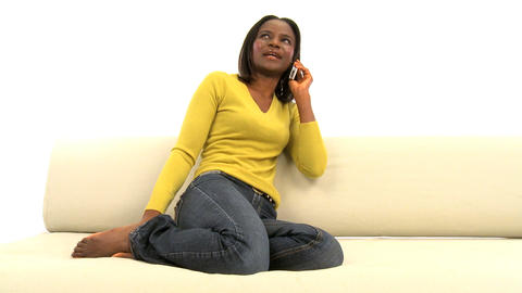 Attractive African American Woman On Mobile Phone Isolated On White, Motion Jib stock footage