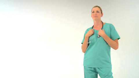Female Doctor On White Background, Motion Jib stock footage