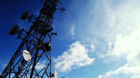 Communications Tower Time-lapse With Clouds And Blue Sky stock footage