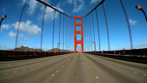 Point-of-view With Fish-eye Lens Of Driving On The Golden Gate Bridge stock footage