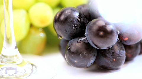 Studio Close-up Of Fresh Grapes & Wine Glasses stock footage