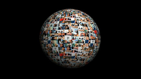 Revolving globe montage of postcards of business images spanning the world Footage