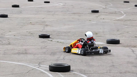 Go-kart racing in russian town. Warm up lap with s Footage