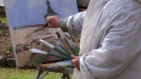 Artist Paints A Picture Of Kirillo-Belozersky Mona stock footage