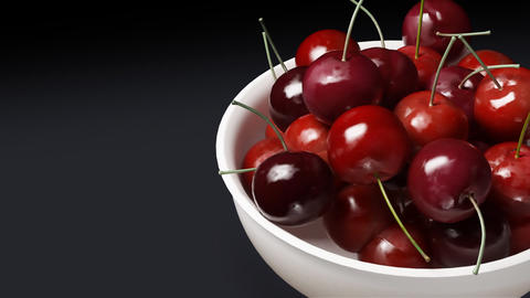 Cherry Close Up Black Background stock footage