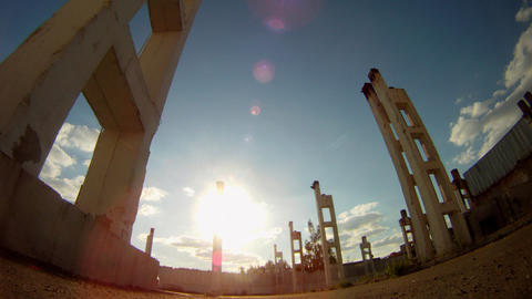 Ruins Of Building Time Lapse stock footage