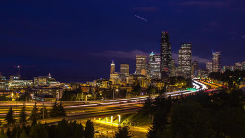 Twilight Freeway Traffic Time Lapse In Seattle stock footage