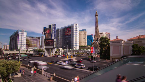Day Traffic Of People And Automobile On The Strip stock footage