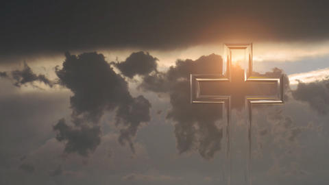 Christian Cross On A Background Of Clouds stock footage