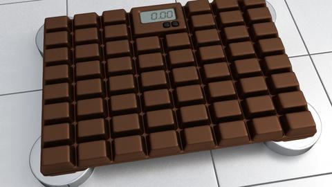 3D Bathroom Scale - Chocolate Animation