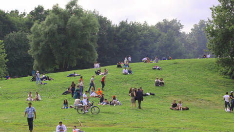 People Have A Rest At The Colomenskoe Park stock footage