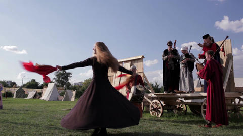 Folk musicians and woman dancer 2 Footage